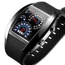 Preisvergleich Produktbild Boolavard ® TM Instrumententafel-Uhr-Flash LED-Militärluftzähler der Luft beobachten Brand New Sports Car Meter Zifferblatt Uhr für Männer