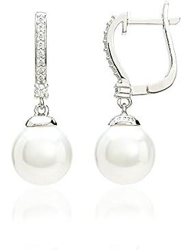 Eye Candy Damen-Klappcreole Ohrringe 925 Sterling Silber rhodiniert Süßwasser-Perlen mit 18 weißen Zirkonia Steinen...