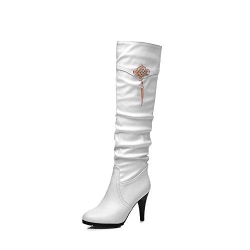 AgooLar Damen Ziehen auf Hoher Absatz PU Rein Hoch-Spitze Stiefel, Weiß, 39