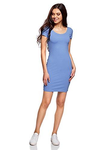 oodji Collection Damen Enges Kleid mit Tiefem Ausschnitt am Rücken, Blau, DE 42 / EU 44 / XL