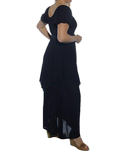 Lotustraders -  Vestito  - linea ad a - Basic - Maniche corte  - Donna Nero