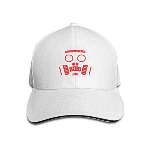 Hip Hop Baseball Cap Adjustable Flat Brim Hat Outdr Sport Baseball Hat Unisex Respirator Retro Logo Vintage Gas mask Design Vintage Gas mask White