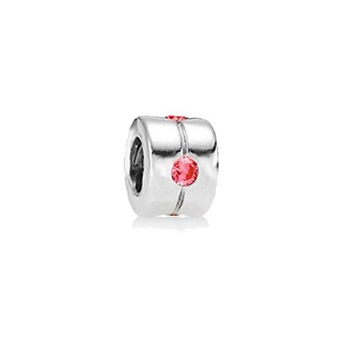 Akki beads & charms strass rosa con zirconi argento in acciaio inox, compatibile con pandora perline charms bracciali, collana donna gioielli classico semplice starter set motivi elementi e acciaio inossidabile, colore: rosa #6, cod. akc-004-291-006