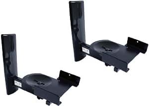 B-Tech - BT77 - Ultragrip ProTM Wandhalterung für Lautsprecher bis 25kg (55lbs), neig- und schwenkbar, schwarz (Paar)