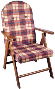 Poltrona sedia sdraio campania colore rosso/arancione reclinabile 4 posizioni legnoline