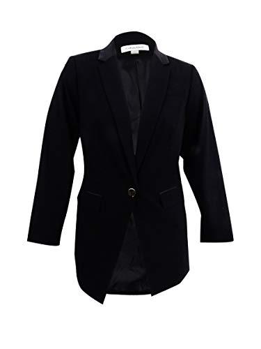 Calvin Klein Damen Blazer mit Einknöpfen aus Satin - schwarz - 16W US - Calvin Klein Sport Mantel