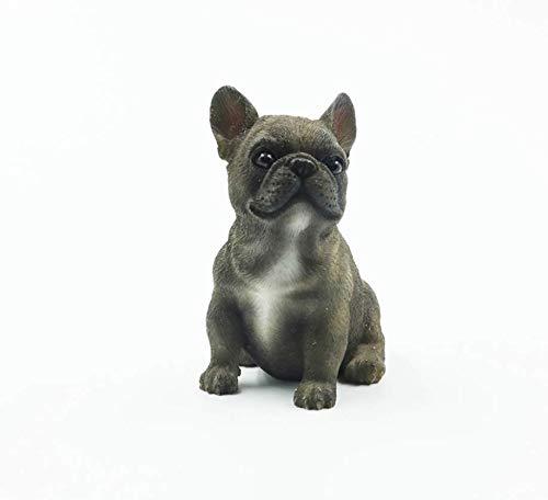 ZXZMONG Deko Skulpturen Statue Figur Harzdekoration Französische Bulldogge Sitzposition Kleines Gesetz Eimer Innendekoration Hund Modell, E -