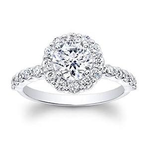 Damen-Ring 1,70 Karat Weißgold Moissanit Rundschliff Verlobungsring 14 Karat (750) massives Gold Weiß Größe O P K L M N Q G H