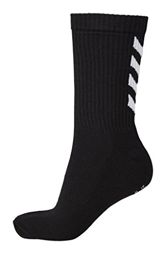 Hummel Socken 3er Set in Grau, Rot Oder Blau - Reflector Fundamental 3-Pack Sock - Strümpfe mit Unterstützung für Fußrücken - Sportsocken für Freizeit & Sport, Black, 12 (41-45), 22-140-2001