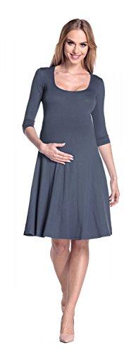 Happy Mama. Damen Umstandskleid 3/4-Arm Schwangerschafts Swing-Kleid. 314p Blau Grau