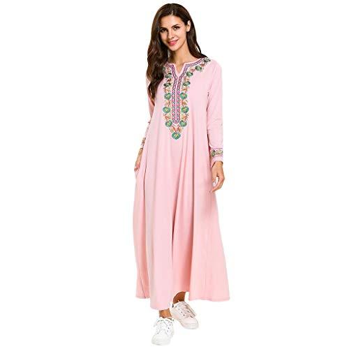 TEBAISE Muslimische Kostüm 2019 Sale Angebote Sommerkleid Damen Prinzessin Lange Ärmel Kleid Stickerei Islamisch Rock Muslim Kleidung Elegant Robe Arabischen Osten Nationaltracht Abaya Kaftan Ramadan