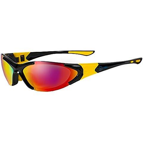nexi Deportes Gafas Gafas de sol S de 16Ideal para conducción con polarización, S-16A-P Black/Red/Yellow (mit