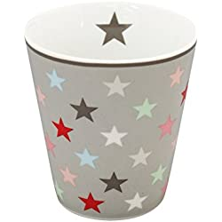 "Krasilnikoff ""Happy Mug"" Becher, Tasse, Kaffeebecher - Multi Star - Farbe: Grau"