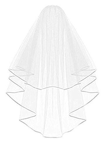 Kleid Schleier (RuiyuhongE Frauen 2T kurze Braut Hochzeit Schleier Ribbon Edge mit Kamm (Elfenbein))