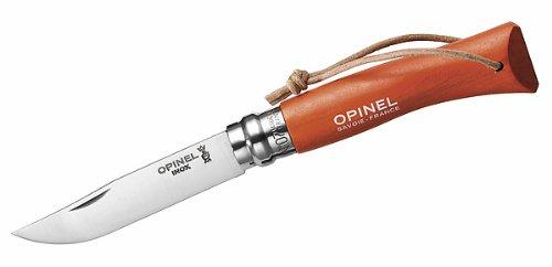 Opinel-Messer Nr. 7, rostfreier Sandvik-Stahl 12C27, oranger Buchenholzgriff, Lederriemen, Virobloc-System