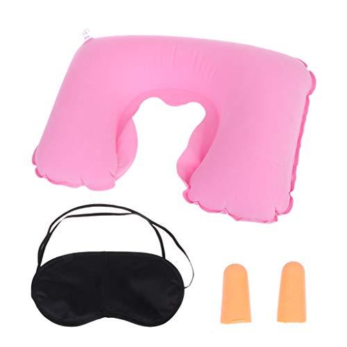 Cansenty - Kit de almohadillas inflables para el cuello y el reposacabezas rosa