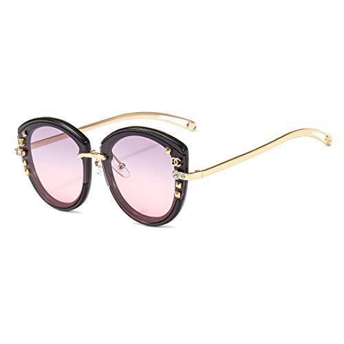 Hjyi Künstliches Diamanten-Mosaik Sonnenbrillen für Damen Polarisierte Aluminiumlegierung Rahmen Sonnenbrille Mode Fahren Sonnenbrillen UV400 Gläser