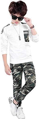 Conjuntos de chándal para niños de 2 Piezas Camiseta de Manga Larga + Pantalones de Camuflaje Conjunto de Ropa