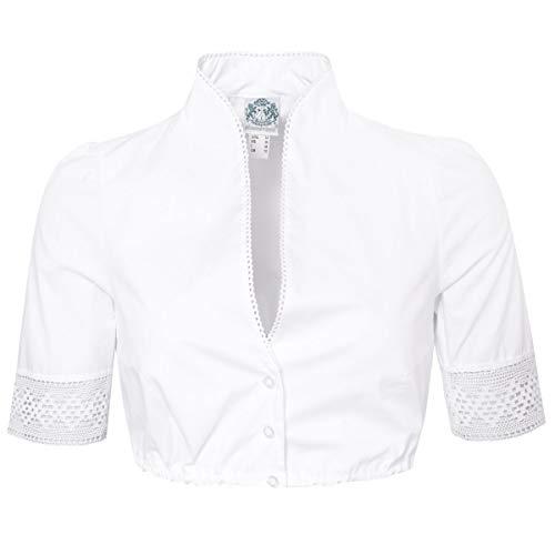 Hammerschmid Damen Trachten-Mode Dirndlbluse Amelie in Weiß traditionell, Größe:34, Farbe:Weiß