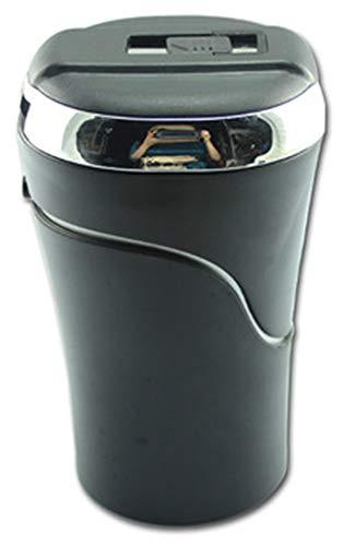 Zalock Autozubehör Aschenbecher mit LED-Licht und Deckel Abnehmbar Auto Aschenbecher mit Metall-Liner und Zigarettenanzünder Windaschenbecher für Auto Haushalt Büro