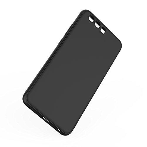 iHarbort® Coque Huawei P10 -TPU transparent Matériau souple pour Huawei P10 5,1 pouces Housse Coque case cover avec absorption des chocs, toucher doux avec un protecteur d'écran, Transparent Noir