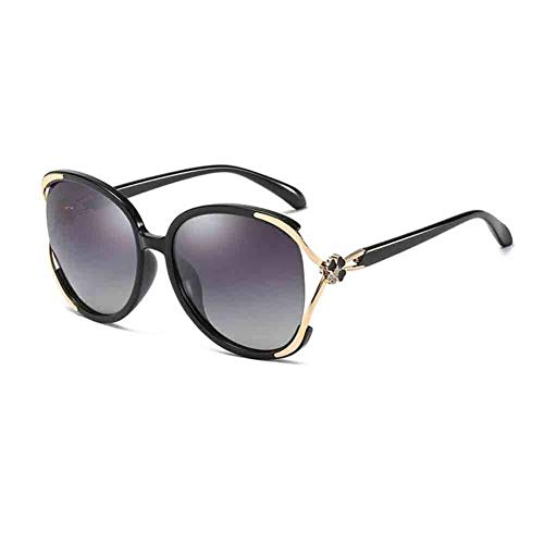 YDS SHOP Damen Big Box Sonnenbrille Retro Elegant Polarized HD Lens UV (Color : Blue floral/Grey) Floral Mirror