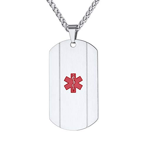 Supcare Notfall Medical ID Kettenanhänger, Edelstahl Anhänger Halskette Silber Kette Kostenlose Gravur Dog Tag Personalisierte Medizinische Marke