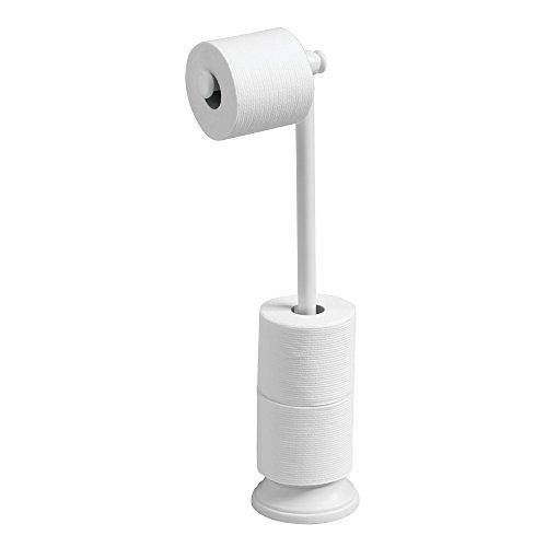 Mdesign porta carta igienica autoportante – pratico porta rotolo bagno – colore: bianco – funzionale portarotolo carta igienica da terra con dispenser