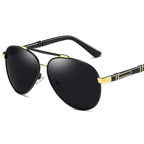 Yiph-Sunglass Sonnenbrillen Mode Trend Sonnenbrillen Fahren Sie Polarisierte Sonnenbrillen Randlose Polarisierte Sonnenbrillen Radfahren Sonnenbrillen (Farbe : Black Gold Frame)