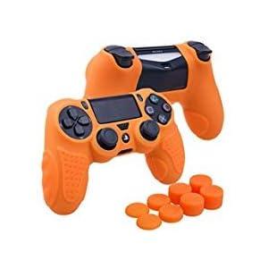 YoRHa Perfekter Griff Kein Geruch Silikon Hülle Abdeckungs Haut Kasten für Sony PS4/slim/Pro Controller x 1 (Orange) Mit Pro aufsätze thumb grips x 8