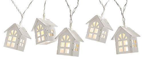 zeitzone LED Lichterkette 10 Häuser Beleuchtung Holz Warmweiß Batteriebetrieb Timer 160cm