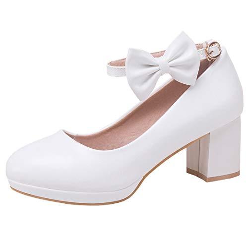 Coolulu Mujer Zapatos Tacón Medio Ancho Comodo Lazos