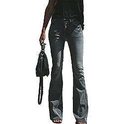Suvimuga Mujer Vaqueros Acampanados Pantalones Largos Elástico Cintura Alta Retro Flared Jeans Negro M