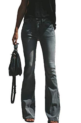 Suvimuga Damen Bell Bottom Jeans Strecken Hohe Taille Flare Denim Lange Hosen schwarz XL - Hohe Bell-bottom-jeans Taille