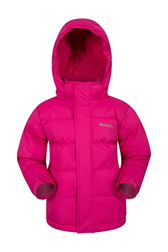 Mountain Warehouse Snow Padded Kids Jacket - Water Resistant, Ripstop, Fleece Lined Collar, Hood, Adjustable Cuffs & Hood, Pockets - Ideal Childrens Autumn Coat Pink 11-12 Years