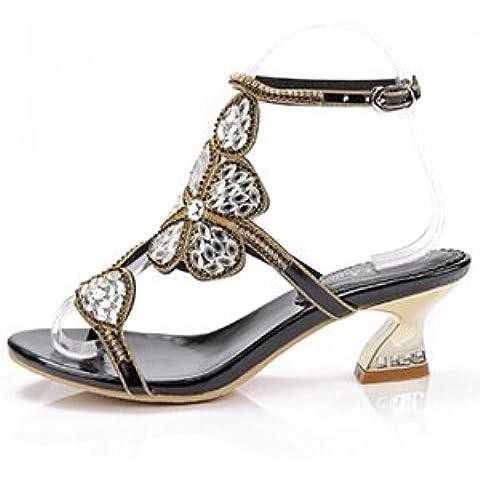 Ei&iLI Verano flores rhinestone sandalias Slip-on mujer hebilla talones mediados / banquete de fiesta de boda de novia zapatos de tacón negro , black ,
