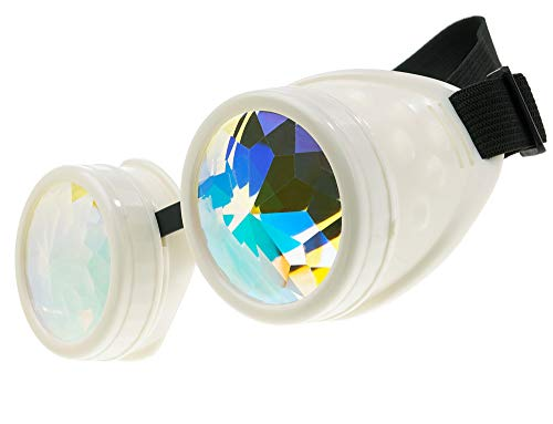 MFAZ Morefaz Ltd Schutzbrille Schweißen Sonnenbrille Welding Cyber LED Goggles Steampunk Goth Round Cosplay Brille Party Fancy Dress (Kaleidoscope White)