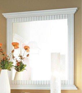 Wandspiegel, Spiegel in weiß Massivholzrahmen