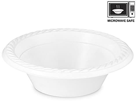 [100 Pack] Basix High Quality Extra Strong Disposable Plastic Bowls Microwave Safe, White (12oz -
