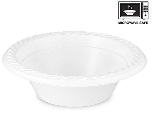 Basix alta qualità, Extra forte, piatti di plastica, usa e getta, da microonde, colore: bianco, plastica, 12oz. - 350ml.