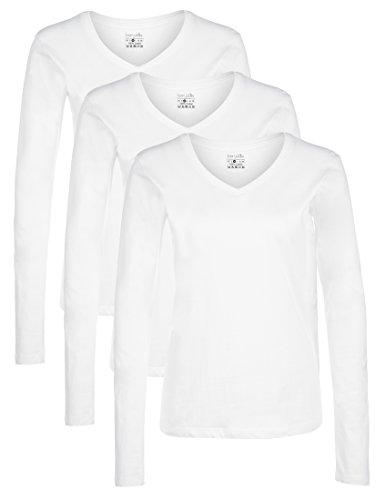 Berydale Damen Langarmshirt mit V-Ausschnitt, 3er Away, Weiß, M