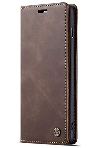 Handyhülle Case Compatible with Samsung Galaxy S10 Plus+, Kusnt Leder Flip Case Handytasche mit Kredit Karten Hülle Geldklammer Unsichtbar Magnet und Stand Funktion Schutzhülle,Koffee