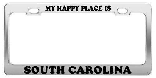 Lionkin8 My Happy Place is South Carolina Kennzeichenrahmen für Autos, LKW, Zubehör
