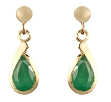 9ct Yellow Gold Real Emerald Drop Earring