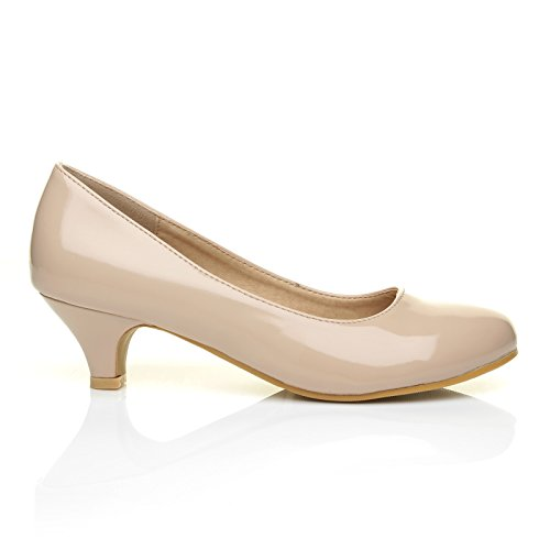 charm-nude-patent-pu-leather-low-heel-round-toe-comfort-court-shoes-size-uk-6-eu-39