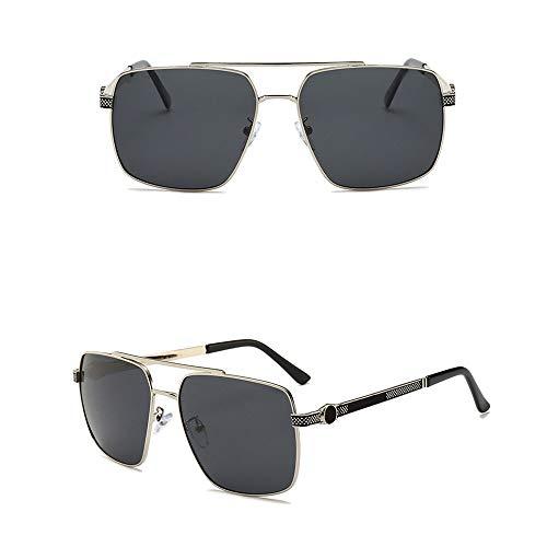 Honneury Herrenmode Quadrat polarisierte Sonnenbrille, Metall, UV-Schutz (Farbe : Silver Frame/Black)