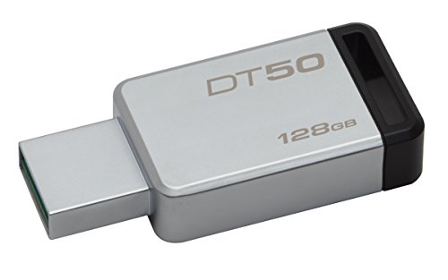 Kingston DataTraveler DT50/128GB - Memoria USB 3.0 DE 128 GB, Tipo Llave, Color Plata y Negro