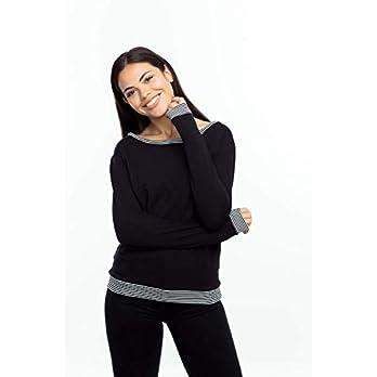 Sweatshirt/Pulli Ringelbündchen, schwarzer, angerauhter Sweatshirtstoff mit Ringelbündhen an den Ärmeln, dem Saum und…