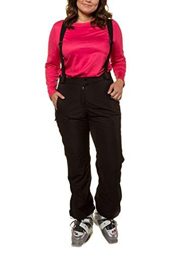 Ulla Popken Damen große Größen bis 64, Skihose, Wasserdicht, atmungsaktiv, warm wattiert, Zipper schwarz 52 719515 10-52