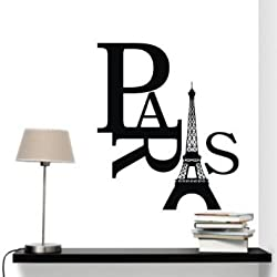 Amaonm Removable Vinyl Black Eiffel Tower Art Paris Home Decor Wall Sticker Decals Mural Wallpaper for Kids Boy and Girl Room Bedroom Living Room Wall Decoration Wall Decorative